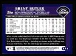 2003 Topps #231  Brent Butler  Back Thumbnail