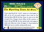 2003 Topps #716   -  Mike Piazza All-Star Back Thumbnail