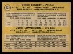 1971 O-Pee-Chee #231   -  Vince Colbert / John Lowenstein Indians Rookies Back Thumbnail