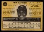 1971 O-Pee-Chee #148  John Mayberry  Back Thumbnail