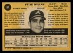 1971 O-Pee-Chee #81  Felix Millan  Back Thumbnail