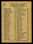 1971 O-Pee-Chee #65   -  Frank Howard / Harmon Killebrew / Carl Yastrzemski AL HR Leaders   Back Thumbnail