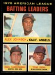 1971 O-Pee-Chee #61   -  Alex Johnson / Tony Oliva / Carl Yastrzemski AL Batting Leaders   Front Thumbnail