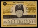 1971 O-Pee-Chee #48  Dave Baldwin  Back Thumbnail