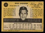 1971 O-Pee-Chee #191  Mike Andrews  Back Thumbnail