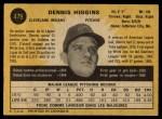 1971 O-Pee-Chee #479  Dennis Higgins  Back Thumbnail