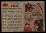 1957 Topps #37  Clarence Peaks  Back Thumbnail