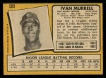 1971 O-Pee-Chee #569  Ivan Murrell  Back Thumbnail