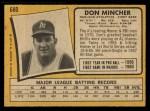 1971 O-Pee-Chee #680  Don Mincher  Back Thumbnail