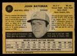 1971 O-Pee-Chee #31  John Bateman  Back Thumbnail