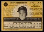 1971 O-Pee-Chee #15   -  Andy Messersmith    Back Thumbnail