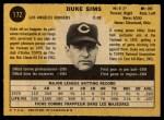 1971 O-Pee-Chee #172  Duke Sims  Back Thumbnail