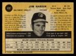 1971 O-Pee-Chee #491  Jim Hardin  Back Thumbnail