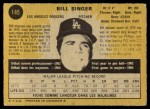 1971 O-Pee-Chee #145  Bill Singer  Back Thumbnail