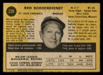 1971 O-Pee-Chee #239  Red Schoendienst  Back Thumbnail