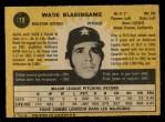 1971 O-Pee-Chee #79  Wade Blasingame  Back Thumbnail