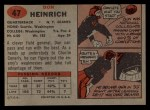 1957 Topps #47  Don Heinrich  Back Thumbnail
