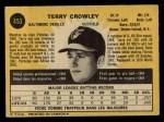 1971 O-Pee-Chee #453  Terry Crowley  Back Thumbnail