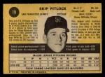 1971 O-Pee-Chee #19  Skip Pitlock  Back Thumbnail