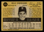 1971 O-Pee-Chee #114  Billy Conigliaro  Back Thumbnail