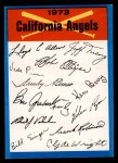 1973 Topps Blue Team Checklists #4   Califorina Angels Front Thumbnail