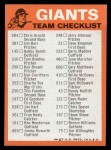 1973 Topps Blue Checklist   Giants Back Thumbnail