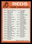 1973 Topps Blue Team Checklists #7   Cincinnati Reds Back Thumbnail