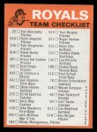 1973 Topps Blue Checklist   Royals Back Thumbnail