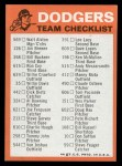 1973 Topps Blue Checklist   Dodgers Back Thumbnail
