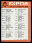 1973 Topps Blue Checklist   Expos Back Thumbnail