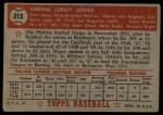 1952 Topps #213  Vernal 'Nippy' Jones  Back Thumbnail