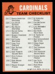 1973 Topps Blue Team Checklists #23   St. Louis Cardinals Back Thumbnail