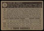 1952 Topps #70 BLK Al Zarilla  Back Thumbnail