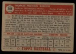 1952 Topps #281  Tom Brown  Back Thumbnail