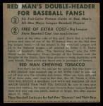 1952 Red Man #21 NL x Duke Snider  Back Thumbnail