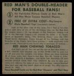 1952 Red Man #8 NL x Jim Hearn  Back Thumbnail