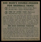 1952 Red Man #11 AL x Jim Hegan  Back Thumbnail