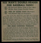 1952 Red Man #23 NL x Eddie Stanky  Back Thumbnail