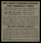 1952 Red Man #18 AL x Eddie Robinson  Back Thumbnail