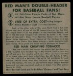 1952 Red Man #14 AL x Gil McDougald  Back Thumbnail