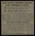 1952 Red Man #15 AL x Minnie Minoso  Back Thumbnail