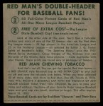 1952 Red Man #14 NL x Sal Maglie  Back Thumbnail