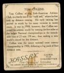 1910 T218 Champions #6  Tom Collins  Back Thumbnail