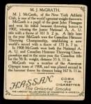 1910 T218 Champions #36  M.J. McGrath  Back Thumbnail