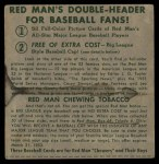 1952 Red Man #3 AL x Yogi Berra  Back Thumbnail