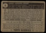 1952 Topps #10 RED Al Rosen  Back Thumbnail