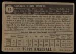 1952 Topps #62  Chuck Stobbs  Back Thumbnail