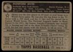 1952 Topps #26 BLK Monte Irvin  Back Thumbnail