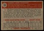 1952 Topps #380  Clem Koshorek  Back Thumbnail