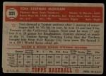 1952 Topps #331  Tom Morgan  Back Thumbnail